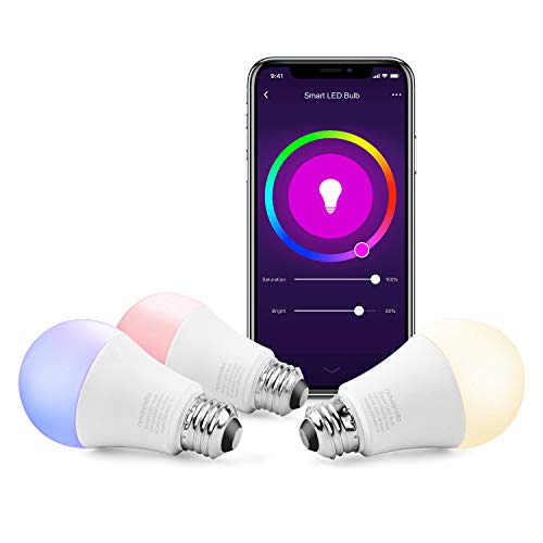 Novostella LED Lights Bulbs RGB Color Changing 2700K to 6500K Dimmable 9W Equivalent to 75 Watt Wi-Fi Smart Bulb for Home Lamps Works with Alexa and Google (Soft White to Daylight, A19 E26, 3 Pack)