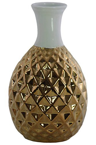- Urban Trends Ceramic Round Bellied Long White Banded Rimmed Neck, Engraved Diamond Pattern Design Body and Tapered Bottom Polished Chrome Finish Gold Vase