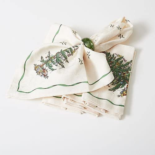 set of 4 Green Fancy Holiday Napkins