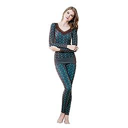 OYBY Women\'s Lace Stretch Seamless Thermal Underwear Set (Coffee-B)