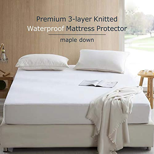 Maple Down Mattress Protector, Full Size, 100% Waterproof Mattress Cover Bedcover, Breathable & Noiseless Cotton Terry Fabric, Vinyl-Free