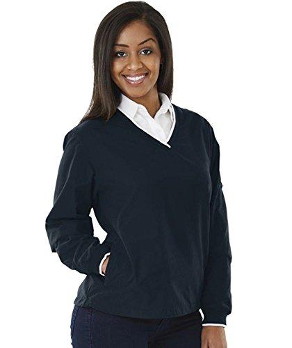 Sleeve Microfiber Windshirt (Charles River Apparel Women's Legend Windshirt, Navy/White, Extra Large)
