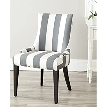 Superb Safavieh Mercer Collection Eva And White Striped Dining Chair With Trim  Nail Head, Grey