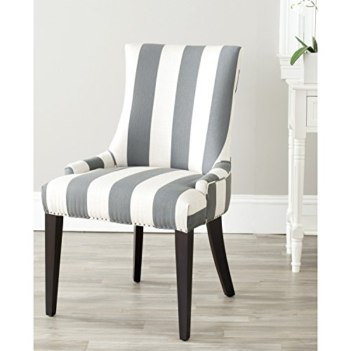 - Safavieh Mercer Collection Eva and White Striped Dining Chair with Trim Nail Head, Grey