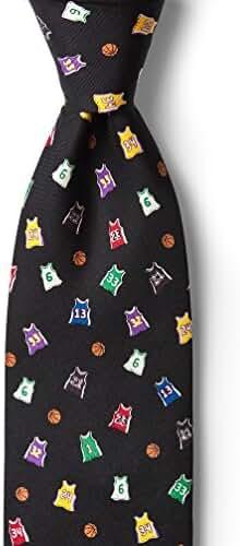 100% Silk Black Basketball Legends Jerseys Necktie Tie Neckwear