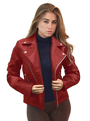 Womens Faux Leather Zip Up Moto Biker JK5208X RED 3X