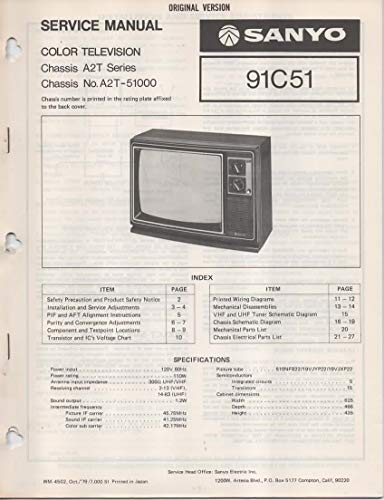 Price comparison product image Service Manual for Sanyo 91C51 Color Television TV, Chassis series A2T, Chassis No. A2T-51000