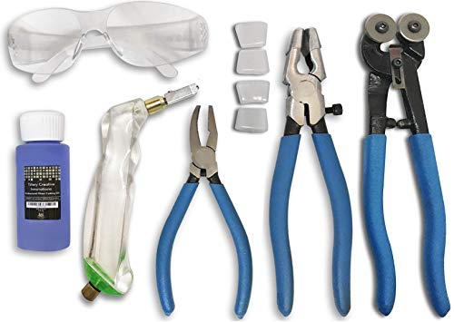 """Professional Eight PC Stained Glass Tool Kit with Carbide Wheel Mosaic Cutter, Oil Filled Pistol Grip Cutter, 1"""" Running Pliers, Breaking and Grozer Pliers, 2 oz of Cutting Oil and Instructional Video"""