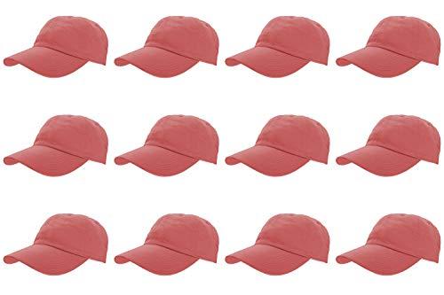 - Gelante Baseball Caps 100% Cotton Plain Blank Adjustable Size Wholesale LOT 12 Pack (Coral)