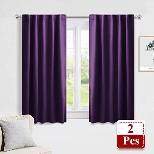 PONY DANCE Blackout Curtain Panels - Window Treatments Thermal Insulated Back Tab & Rod Pocket Curtains Living Room Window Coverings Drapes for Kids' Room, 42