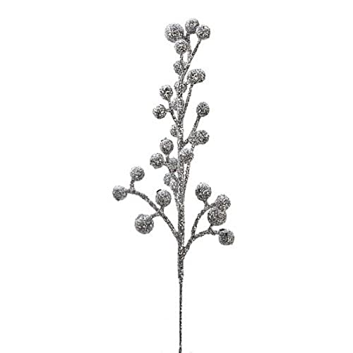 factory direct craft package of 24 glittery silver artificial berry picks for holiday decorations or floral arranging