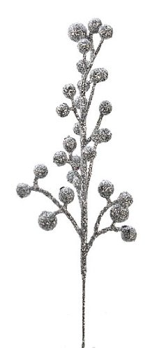 Factory Direct Craft Package of 24 Glittery Silver Artificial Berry Picks for Holiday Decorations or Floral Arranging unknown 4336861291