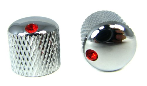 2-pack Potentiometer Knobs: Dome-Top Knurled Chrome with Ruby Indicators