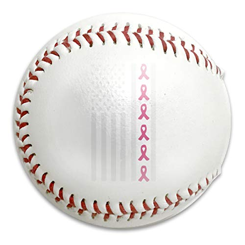 Kunpeng~ï¼ Pink Ribbon Flag Breast Cancer Awareness Baseballs Standard Low Impact Safety Baseball for Bating Practice,Trophies,Keepsakes