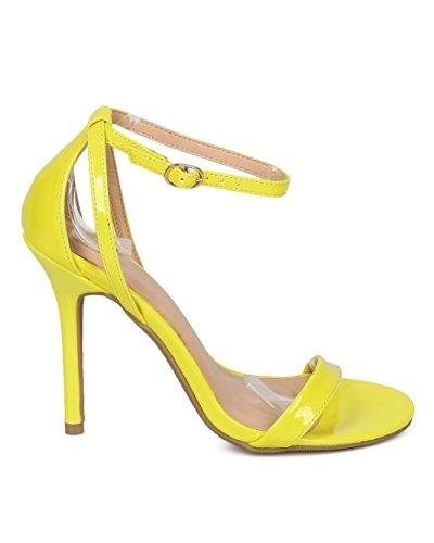 Sandalo Alrisco Da Donna Con Cinturino Alla Caviglia - Tacco A Spillo Minimalista - Tacco Elegante Da Sera Per Feste Party Party - Hd65 By Wild Diva Collection Yellow Patent