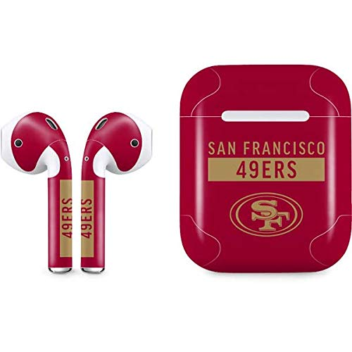 Skinit San Francisco 49ers Red Performance Series Apple AirPods Skin - Officially Licensed NFL Audio Sticker - Thin, Case Decal Protective Wrap for Apple AirPods Gen 1 (Francisco 49ers San Laptop)