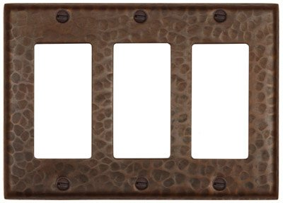 Hammered Copper Triple GFI Switch Cover-Decora Flat-LSC103 by Hammermarc