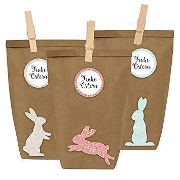 12 Bolsas de regalo para Pascua para fabricar y rellenar por ti mismo DIY - Cesta de Pascua para fabricar por ti mismo con 12 bolsas de papel y pegatinas ...