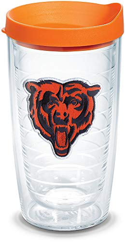 (Tervis 1039086 NFL Chicago Bears Bear Tumbler with Emblem and Orange Lid 16oz, Clear)