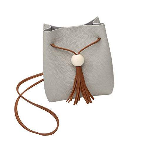 Trendy Unique Tassels body Women's New Light Cross Mini grey Small Phone Purse Bags Popular Pcs Bags Cell 1 Xuxuou Pull Bucket Shoulder xvTUBY