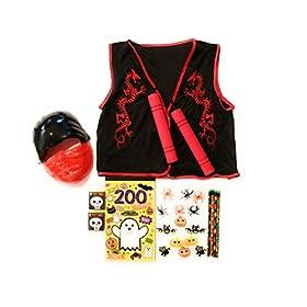 - 41oXhA6EmQL - Halloween Kids Red Ninja Bundle Costume Mask, Vest, Toy Numchuks