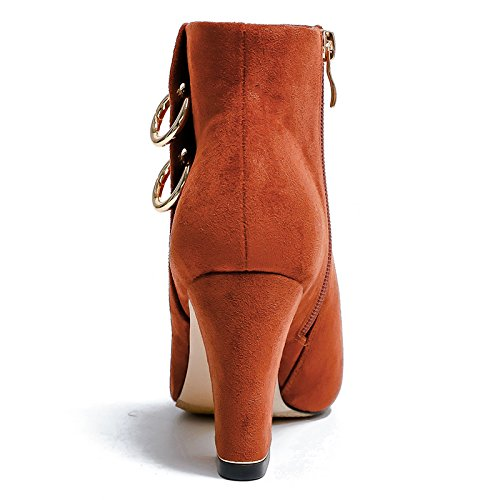 KPHY 8Cm Shoes Solid Rings nine New With Heeled Pointed High Thick Metal Boots Thirty Boots For rr1qwH