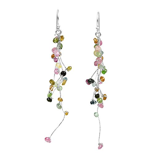 Multicolor Icicle Drop Natural Tourmaline Clusters On Silk Thread Sterling Silver Fish Hook Earrings
