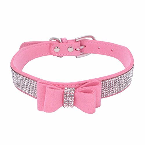 Howstar Pet Collars, Pet Supplies Adjustable Bowknot Dog Cat Necklace Rhinestone Crystal Bling Dog Collar (XS, Pink)