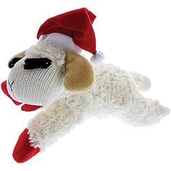 "Multipet Holiday Lambchop with Santa Hat Plush Dog Toy, 10.5"""