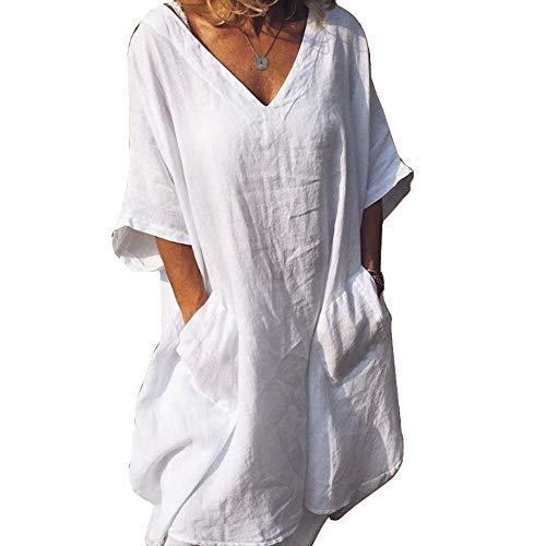 Cicy Bell Women's V Neck Linen Tunic Tops Half Sleeve Summer Loose Fit Casual Dresses with Pockets White ()
