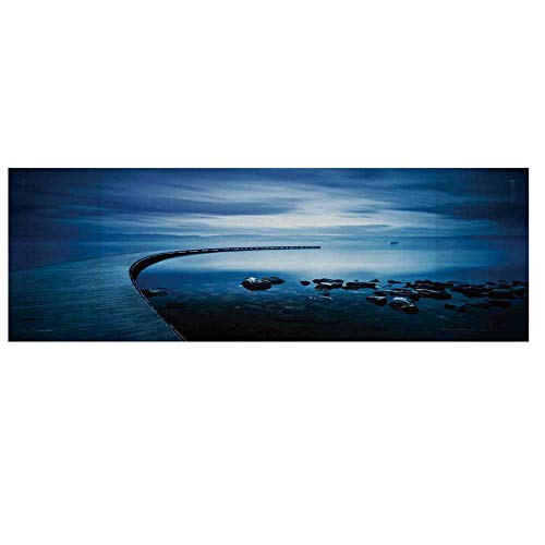 (Seascape Cotton & Linen Microwave Oven Protective Cover,Seaside Rocks Curvy Jetty at Dawn Dreamy Panoramic Majestic Aquatic View Print Cover for Kitchen,36