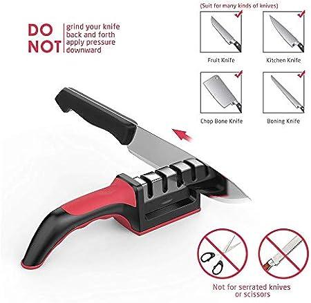 UTECH Afilador de Cuchillos Profesional, 3 en 1, Knife Sharpener, Afilador de Cuchillos manuales de Cocina, para Todo Tipo de Cuchillos.