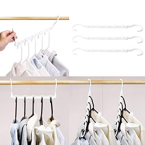 HOUSE DAY White Magic Hangers Space Saving Clothes Hangers Organizer Smart Closet Space Saver Pack of 16 with Sturdy Plastic for Heavy Clothes (As Seen On Tv Hangers That Save Space)