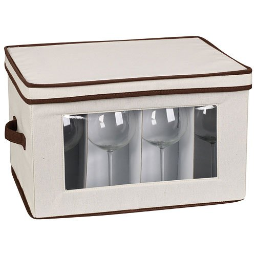 K&A Company Vision Canvas Stemware Storage Box, 8.25
