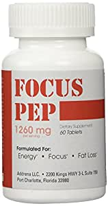 Addrena Focus Pep- Over the Counter Stimulants to Speed Up Naturally: Study Alternative and Best Legal Energy Supplements for Nootropic Brain Boosting, 1260 mg, 60 Pills