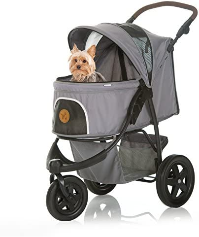 41oXiZpvl5L. AC - Hauck TOGfit Pet Roadster - Luxury Pet Stroller For Puppy, Senior Dog Or Cat | Easy Foldable Three Wheels Travel Pet Jogger Max. Loading 70 Lb, Mattress Included - Gray