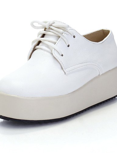 NJX/ Damenschuhe - Oxfords - Kleid - Kunstleder - Plateau - Plateau / Rundeschuh - Weiß / Beige 2in-2 3/4in-almond