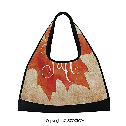 Fitness bag,Vivid Watercolor Maple Leaf Fall Word on Vintage Backdrop Artsy Decorative,Multi Functional Bag (18.5x6.7x20 in) Orange Light Brown White