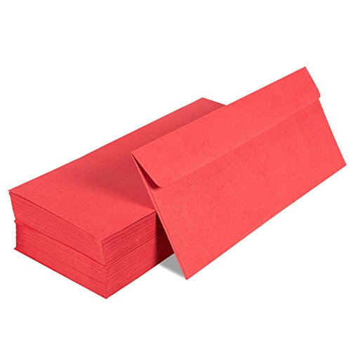 100 Pack #10 Red Business Envelopes - Value Pack Square Flap Envelopes - 4 1/8 x 9 1/2 Inches - 100 Count, Red (Business Envelopes Red)