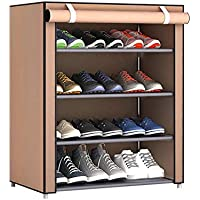 Dustproof Large Size Non-Woven Fabric Shoes Rack Shoes Organizer Home Bedroom Dormitory Shoe Racks Shelf Cabinet, coffee
