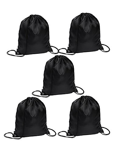 - Drawstring Tote Sack Bag Cinch Gym Bags Storage Backpack for Travel Sports (Black)