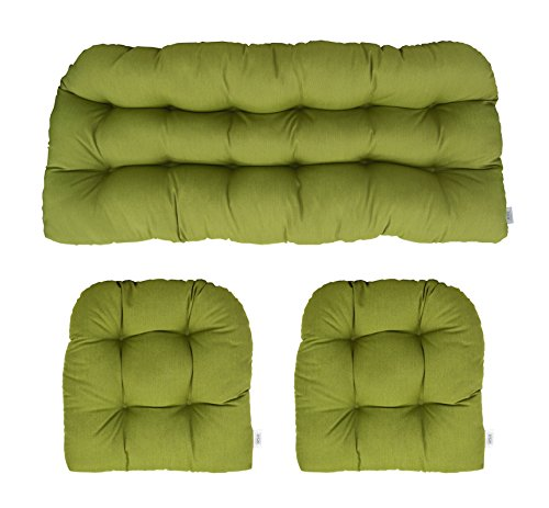 Settee 2 Piece (RSH Décor Sunbrella Spectrum Cilantro 3 Piece Wicker Cushion Set - Indoor/Outdoor Wicker Loveseat Settee & 2 Matching Chair Cushions - Lime/Olive/Sage Green)