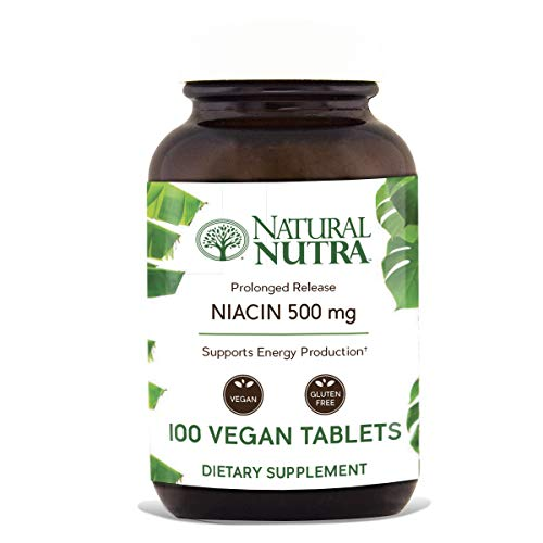 Natural Nutra Time-Release Niacin 500mg (Vitamin B3) with Nicotinic Acid, Cholesterol Supplement, 100 Vegan and Vegetarian Tablets