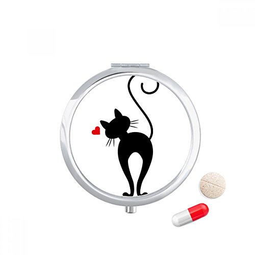 Heart-shape Cat Sihouette Animal Travel Pocket Pill case Medicine Drug Storage Box Dispenser Mirror Gift by DIYthinker