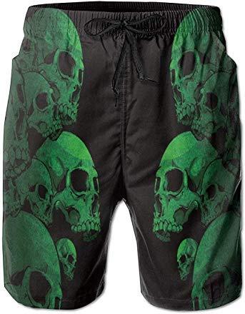 YINGWANG Green Scare Skull Mens Holiday Beach Summer Drawstrings Surf Board Short Swim Trunks Cargo Shorts