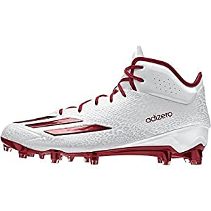 adidas Adizero 5Star 5.0 Mid Mens Football Cleat 9.5 White-Power Red