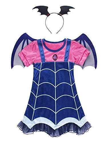JerrisApparel Girls Vampire Costume Dress Set with Headband Halloween Dress up (Blue, 6) ()