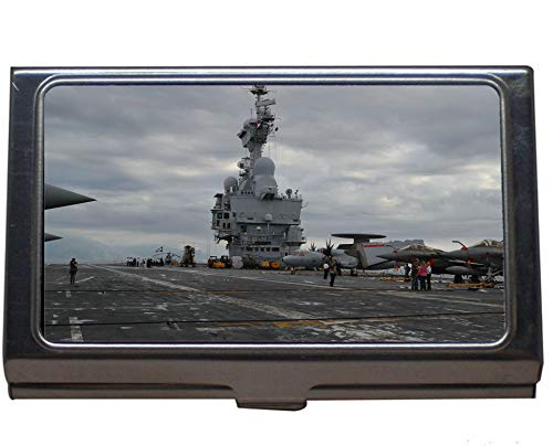 (Professional Business Card Case,Aircraft Carrier French Aircraft Carrier Charles De Gaulle Warship Business Card Case for Men and Women (Stainless Steel))