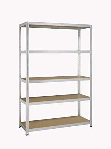 Avasco 175 Strong Regal aus Metall/Holz, Aufsteckmechanismus, mit 5 Ablageflächen, klar, galvanisiert, Transparent, 5400431615005