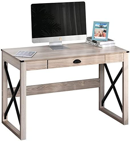 HOMCOM Industrial Retro Style Wooden Modern X-Frame Particleboard Study Desk w/1 Drawer Home Office Desk Oak Function Desk